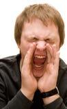 De mens die van Yoing luid gilt Stock Foto