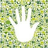 De mens dient groene pictogrammen in Royalty-vrije Stock Afbeelding