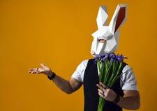 De mens in document konijnmasker houdt een boeket van irissenbloemen op een gele studioachtergrond royalty-vrije stock afbeelding