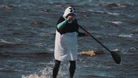 De mens draagt pandakostuum op een surfplank berijdt rond baken roeiend met een peddel stock videobeelden