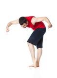 De mens is een acrobaat Stock Foto