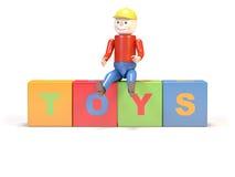 De mens en de kubussen van het stuk speelgoed Royalty-vrije Stock Fotografie