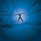 De mens en de spinnenWeb van de slaaf Royalty-vrije Stock Afbeeldingen