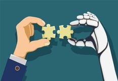 De mens en een robot overhandigen de stukken van het holdingsraadsel royalty-vrije illustratie