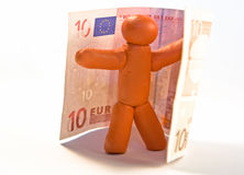 De mens en het geld van de plasticine Stock Foto