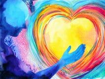 De mens en de krachtige energie van de liefdegeest verbinden met de heelalmacht royalty-vrije illustratie