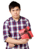 De mens geeft gift Stock Afbeeldingen