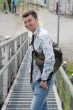De mens is gelukkig Royalty-vrije Stock Fotografie
