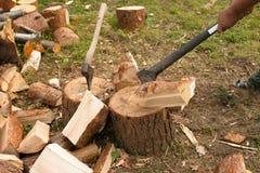 De mens hakt hout met bijl Royalty-vrije Stock Afbeelding