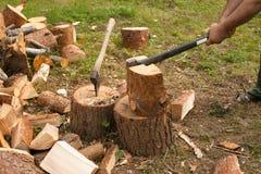 De mens hakt hout met bijl Stock Afbeeldingen