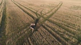 De mens heeft een rust en een droom in platteland Jonge mensenzitting op de stoel op het gebied Lucht panorama stock footage