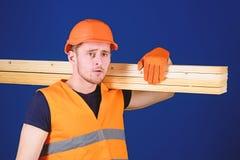 De mens in helm, bouwvakker en beschermende handschoenen houdt houten straal, blauwe achtergrond Houten materialenconcept timmerm stock fotografie