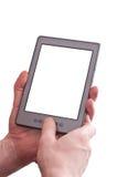 De mens houdt een ebooklezer in de voorzijde Royalty-vrije Stock Foto's