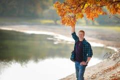 De mens houdt eiken tak in de herfst stock afbeeldingen