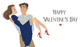 De mens houdt meisje in zijn wapens minnaars De dag van de valentijnskaart `s De stijl van het beeldverhaal Jongen en datum Stock Afbeelding