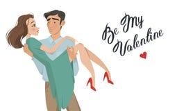 De mens houdt meisje in zijn wapens minnaars De dag van de valentijnskaart `s De stijl van het beeldverhaal Jongen en datum Royalty-vrije Stock Fotografie