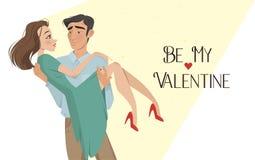 De mens houdt meisje in zijn wapens minnaars De dag van de valentijnskaart `s De stijl van het beeldverhaal Jongen en datum Stock Fotografie