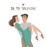 De mens houdt meisje in zijn wapens minnaars De dag van de valentijnskaart `s De stijl van het beeldverhaal Jongen en datum royalty-vrije stock foto