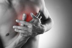 De mens houdt voor hart Pijn in het menselijke lichaam Royalty-vrije Stock Fotografie