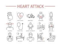 De mens houdt voor hart Symptomen, Behandeling Geplaatste lijnpictogrammen Vector Royalty-vrije Stock Foto