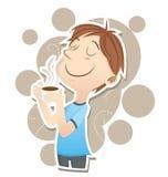 De mens inhaleert de geur van koffie Stock Foto's