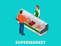 De mens kiest worsten in de opslag Worsten en vers vlees in de isometrische vectorillustratie van de winkelshowcase Vleeswaren Royalty-vrije Stock Foto's