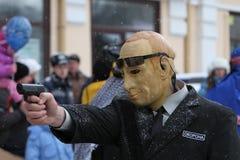 De mens kleedde zich als Putin Stock Foto