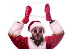 De mens kleedde zich als Santa Claus stock fotografie