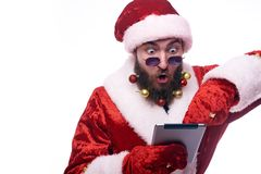 De mens kleedde zich als Santa Claus stock afbeeldingen