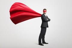 De mens kleedde zich als superhero Stock Afbeelding