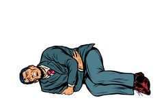De mens ligt kwetst maag Isoleer op witte achtergrond stock illustratie