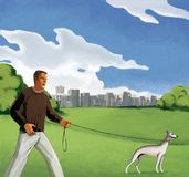 De mens loopt met een hond op de gebieden op de rand van een stad met meerdere verdiepingen De zomer Blauwe hemel met wolken en g stock illustratie