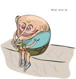 De mens lost de Kubus van Rubik op ` s Royalty-vrije Stock Foto's