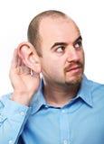 De mens luistert stelt Royalty-vrije Stock Foto