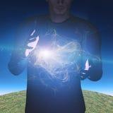 De mens manipuleert energie en kwestie Stock Fotografie