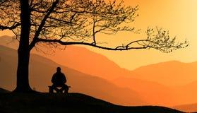 De mens mediteert onder de grote boom in Karpatische bergen royalty-vrije stock fotografie