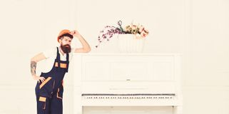De mens met baard, de arbeider in overall en de helm leunen op piano, witte achtergrond De koerier levert meubilair in het geval  royalty-vrije stock afbeelding