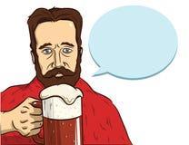 De mens met een baard drinkt bier Royalty-vrije Stock Afbeeldingen