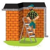 De mens met hulpmiddelen onderzoekt de affiche van het huisdak vector illustratie