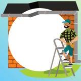 De mens met hulpmiddelen onderzoekt de affiche van het huisdak Beeldverhaalmannetje in glazen die zich op ladder met speciale ins royalty-vrije illustratie