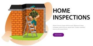 De mens met hulpmiddelen onderzoekt de affiche van het huisdak Beeldverhaalmannetje in glazen die zich op ladder met speciale ins stock illustratie