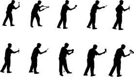 De mens met hulpmiddelen silhouetteert 2 stock illustratie