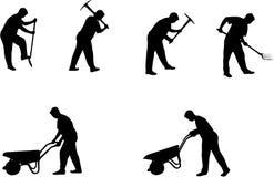 De mens met hulpmiddelen silhouetteert 4 vector illustratie