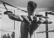 De mens met naakt torso, en spier terug van in gymnastiek geniet opleidend, trx Sport en gymnastiekconcept Sportman, atleet, spie Stock Afbeeldingen