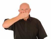 De mens met overhandigt mond Stock Afbeeldingen