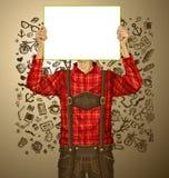 De mens met schrijft Raad op Oktoberfest Stock Afbeelding