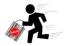 De mens met zak loopt voor sa Royalty-vrije Stock Afbeeldingen