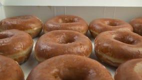De mens neemt Doughnut van Doos stock footage