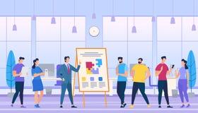 De mens onderwijst hoe te om Sterk Team in Bureau te creëren vector illustratie