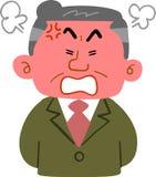 De mens op middelbare leeftijd die een kostuum draagt is boos met gespoeld gezichts _manager royalty-vrije illustratie
